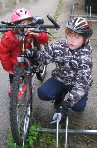 Daniel shows us the bike parking at his school - the end of the ride