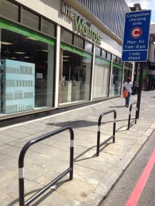 Recently installed cycle stands outside Little Waitrose, Holloway Road