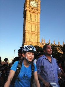 2 of the 5,000 riders that cycled past the House of Commons
