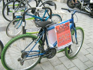 A police information bike outside the Town Hall