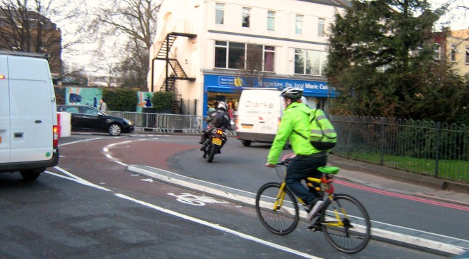 Cyclist using the cycle lane